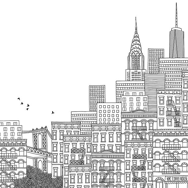 手描きのイラストレーション ニューヨーク - 都市 モノクロ点のイラスト素材/クリップアート素材/マンガ素材/アイコン素材