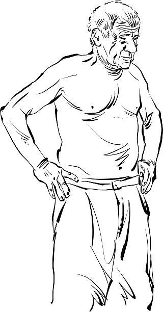 hand drawn illustration of old man, black drawing. - old man portrait drawing stock illustrations, clip art, cartoons, & icons