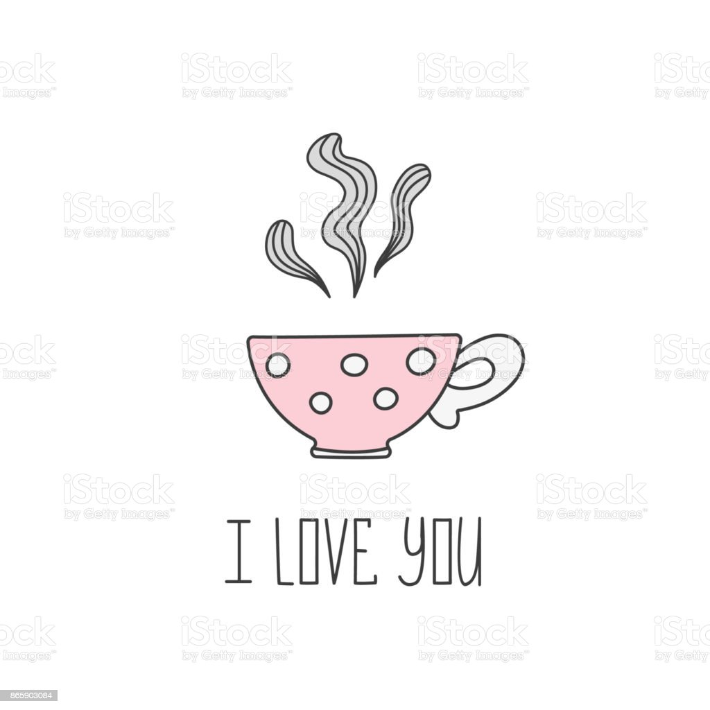 Tea Cup Template | Hand Drawn Illustration Of Polka Dot Tea Cup With Tea Valentine