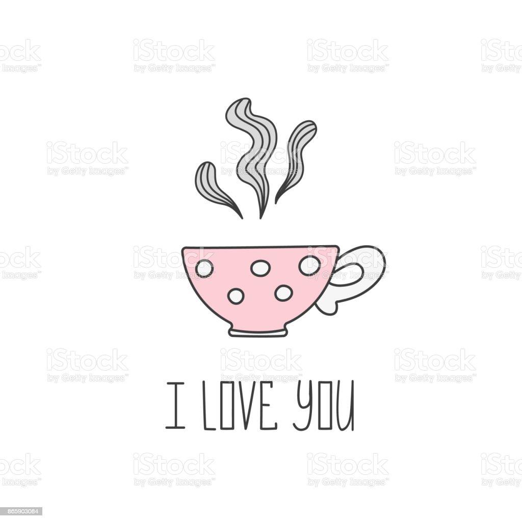 Hand drawn illustration of polka dot tea cup with tea valentine hand drawn illustration of polka dot tea cup with tea valentine greeting card template for maxwellsz