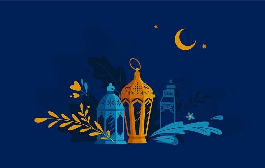 Hand Drawn Illustration of Ramadan Lanterns with Floral Elements on Dark Blue Background.