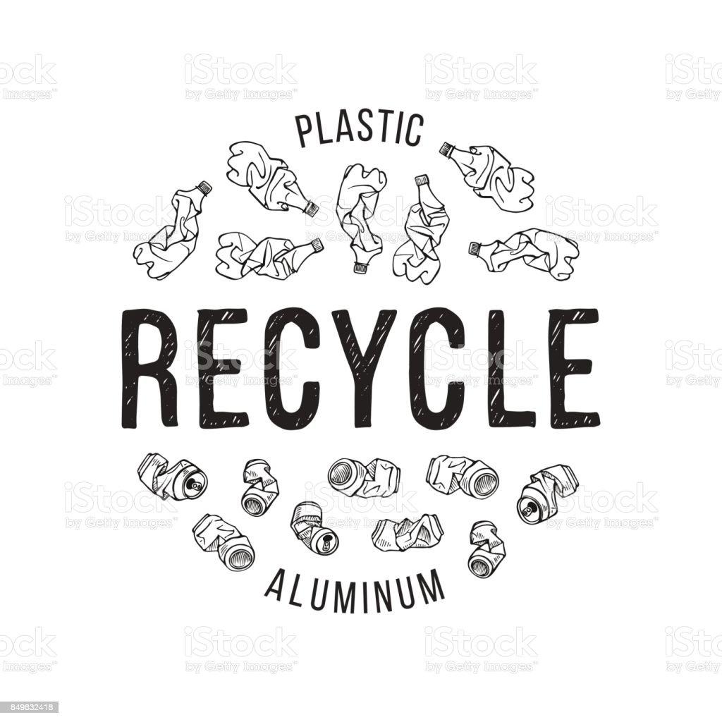 Ilustración de dibujado a mano de materiales reciclables. Basura de plástico y aluminio - ilustración de arte vectorial