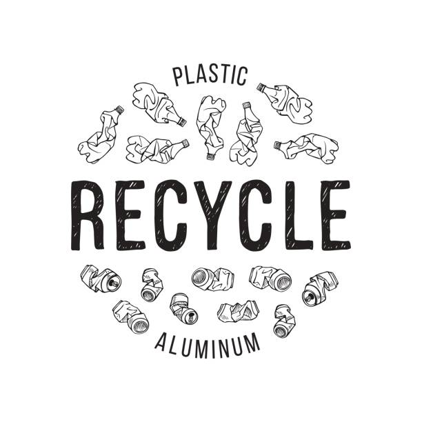 Hand drawn illustration of recyclable materials. Plastic and aluminum trash Hand drawn illustration of recyclable materials. Plastic and aluminum trash crushed stock illustrations