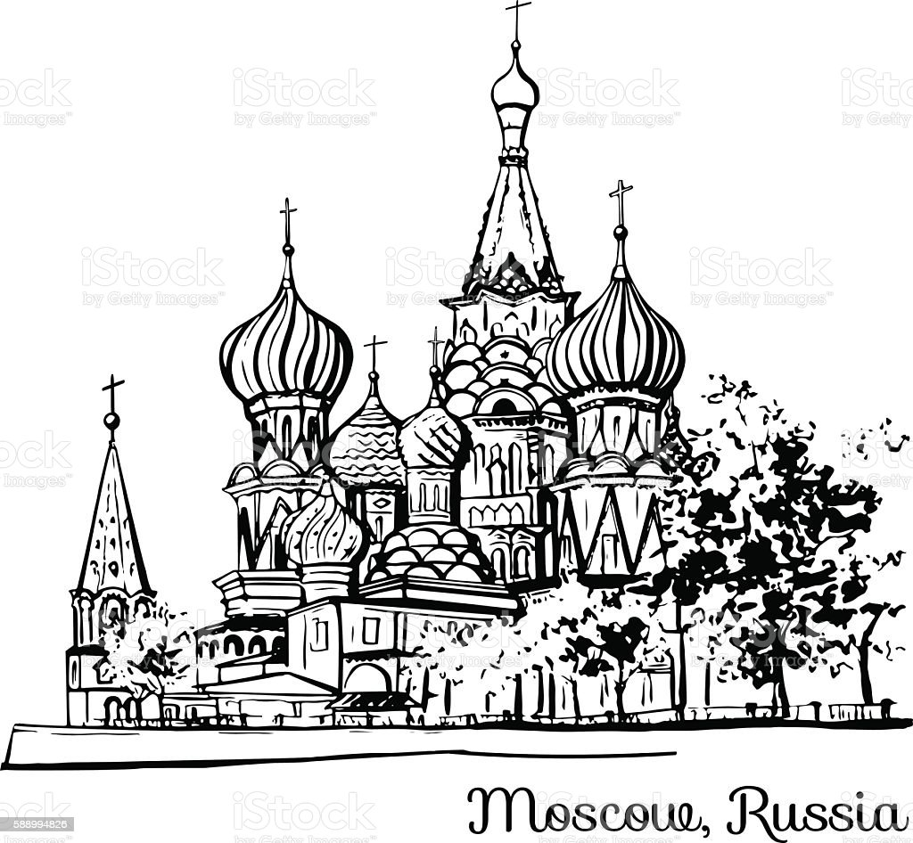 Hand drawn illustration of russian landmark – Vektorgrafik