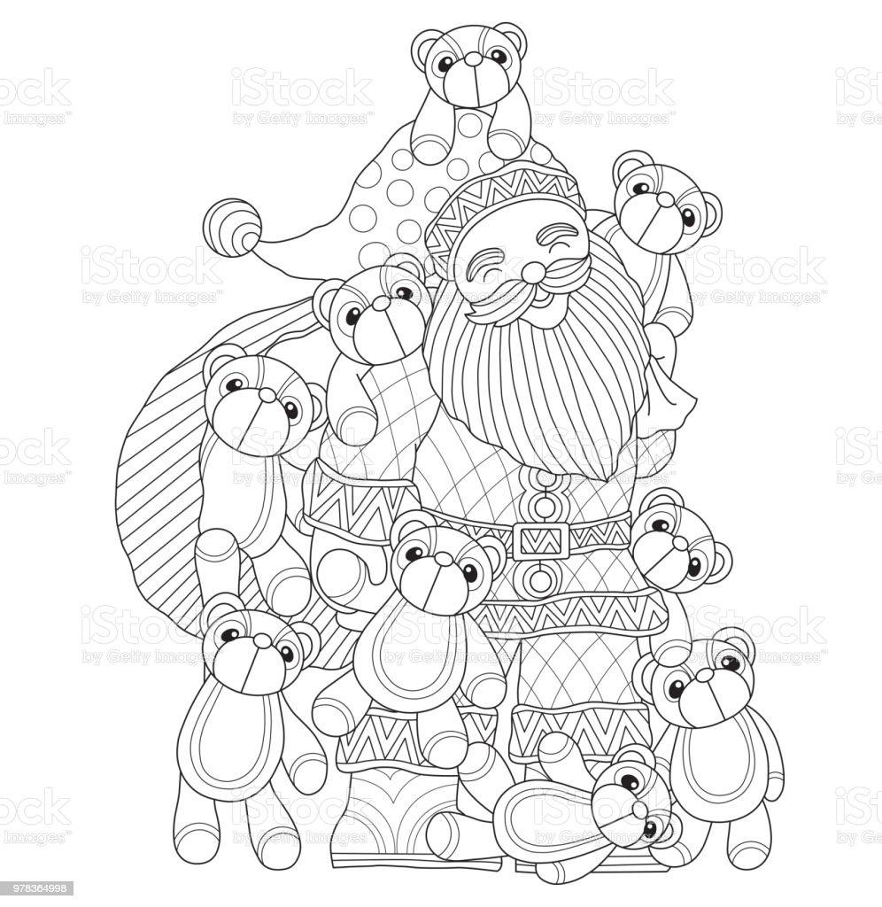 Hand dras illustration av jultomten och nallar i härva stil vektorkonstillustration