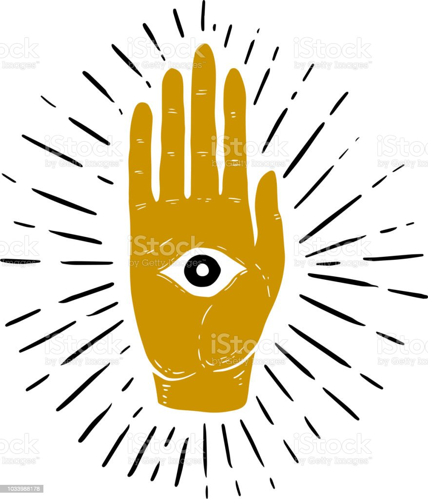 Hand Drawn Illustration Of Sunburst Hand And All Seeing Eye Symbol