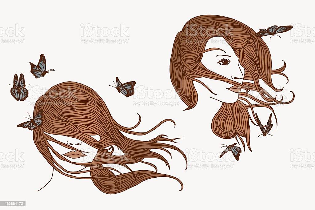 Hand drawn illustration of women and butterflies vector art illustration