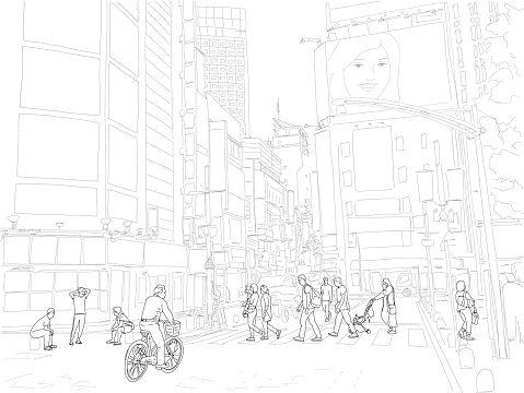 Hand drawn illustration. People cross the street in the beautiful and exciting Shinjuku neighborhood of Tokyo, Japan. Black and white.