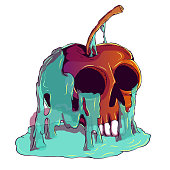 Hand Drawn Creepy Comic Book Illustration - Poison Apple Skull Shaped. Poisoned apple.