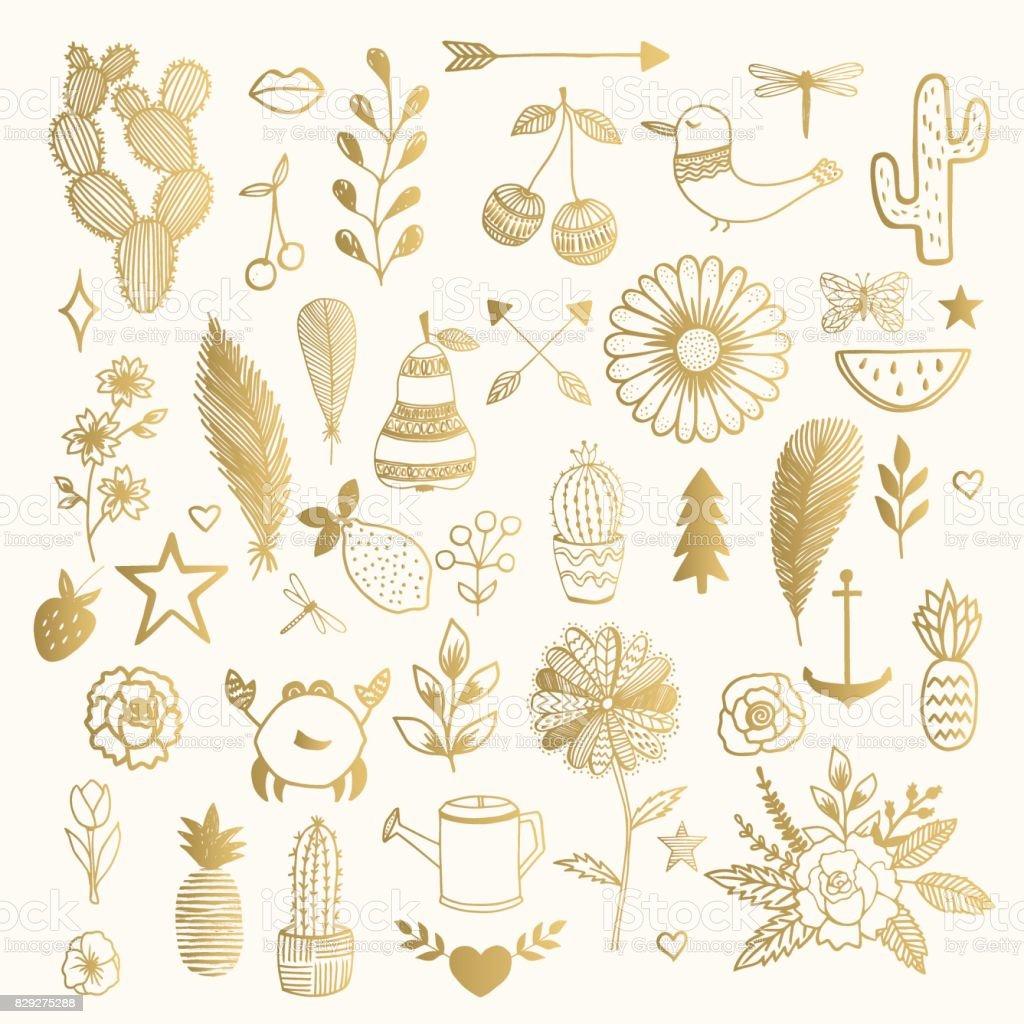 Handgezeichnete Abbildung. Tattoo-Designs. – Vektorgrafik