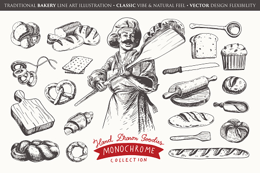 Hand drawn illustration with bakery elements