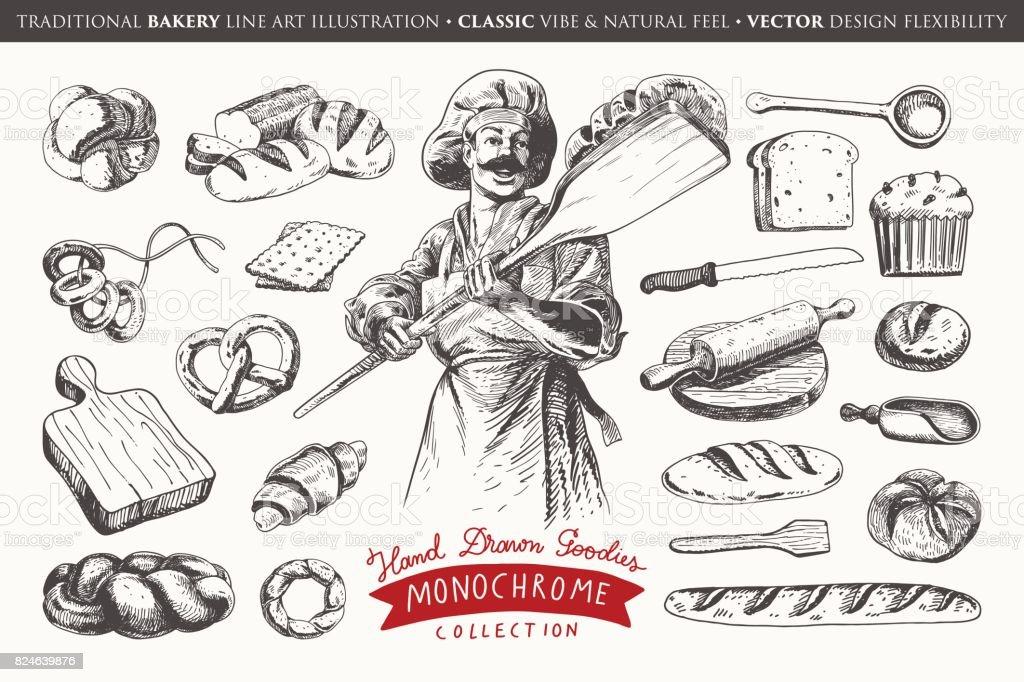 La main illustration dessinée avec des éléments de la boulangerie - Illustration vectorielle