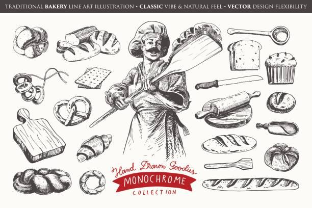 illustrations, cliparts, dessins animés et icônes de la main illustration dessinée avec des éléments de la boulangerie - boulanger