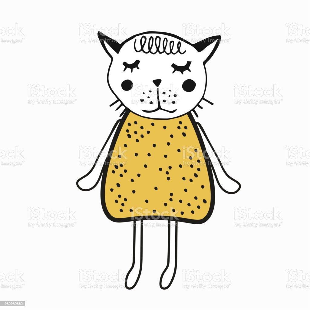 Vetores De Ilustracao De Mao Desenhada Com Gato Fofo Gatinho Com