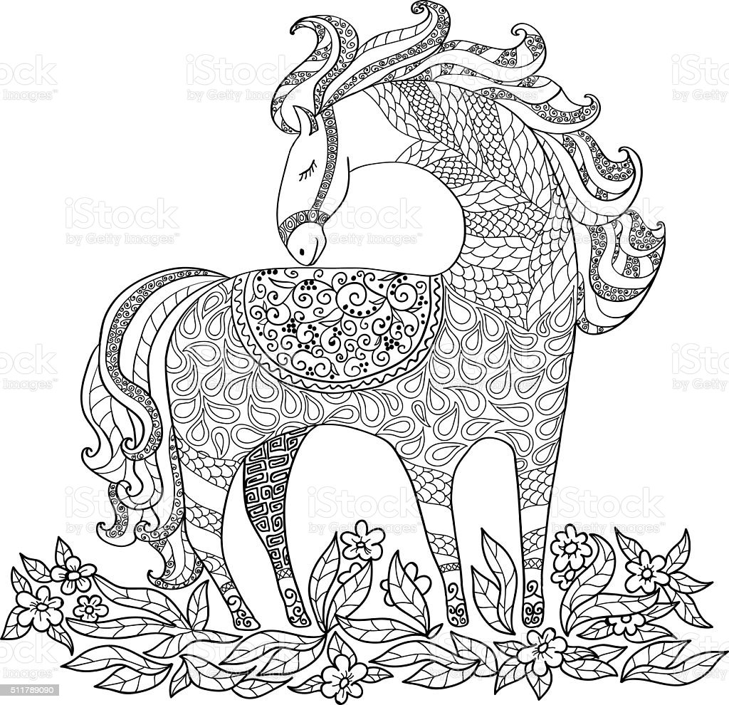 Disegnato A Mano Libera Illustrazione Con Cavallo Disegni Da