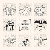 Wild nature landscape illustrations, outdoor recreation, hiking activity labels. Artistic collection of hand drawn design elements, inked textures and patterns. Poster, banner, flyer decor, apparel, t-shirt print.