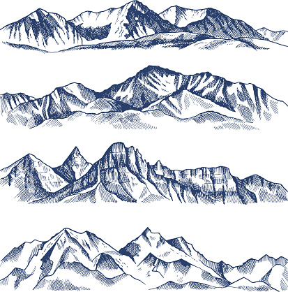 Hand drawn illustrations of different mountains landscape clipart