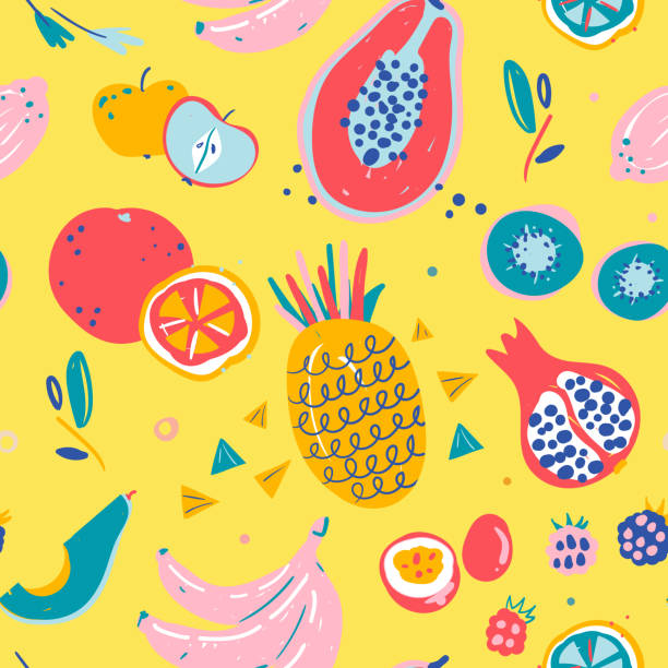 illustrazioni stock, clip art, cartoni animati e icone di tendenza di hand drawn illustrations of fruit in bright colors and modern handrawn sketch style. neon vector seamless pattern. - passiflora