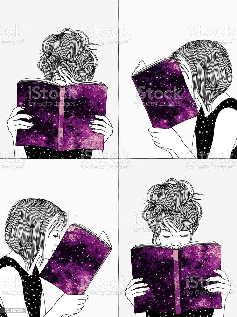 Hand drawn illustrations of girls reading vector art illustration