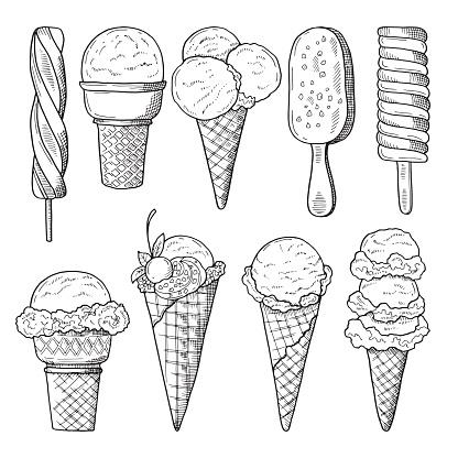 Hand drawn illustrations set of ice creams. Vector sketch