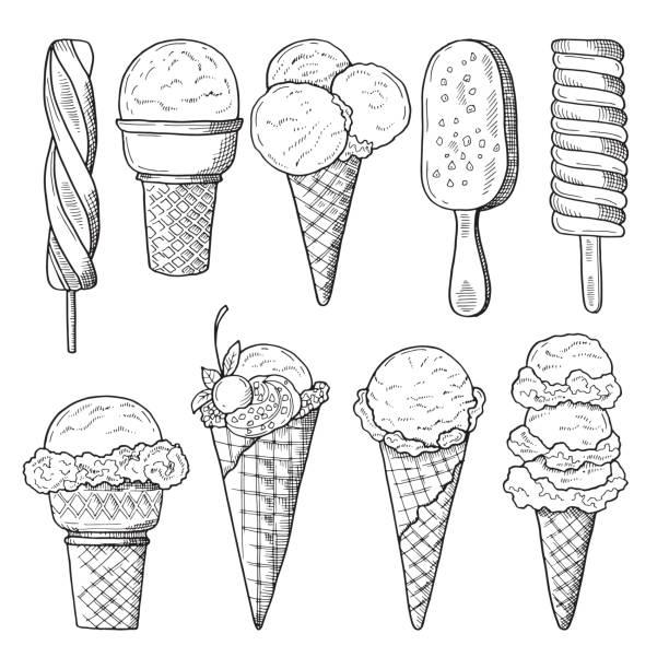 ilustraciones, imágenes clip art, dibujos animados e iconos de stock de conjunto de ilustraciones de dibujado a mano de helados. bosquejo del vector - ice cream cone