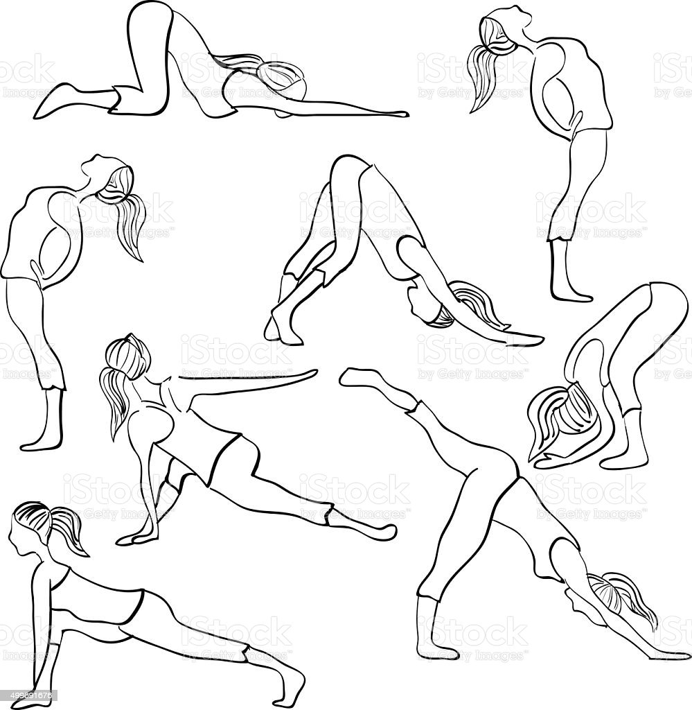 hand drawn illustrationthe basic yoga and pilates standing position