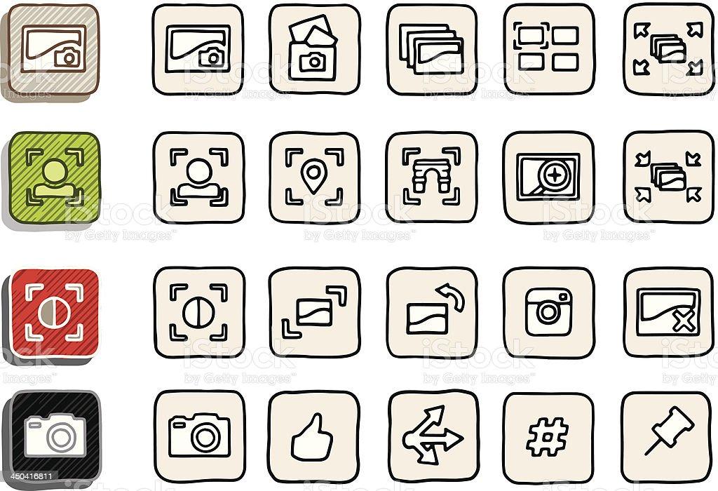 Hand Drawn Image Sharing Icons royalty-free stock vector art
