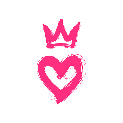 Hand drawn in ink heart and crown. Grunge style vector sketch, illustration. Graffiti logo painted with rough brush strokes.