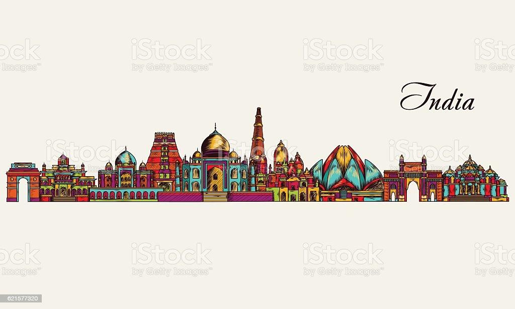 Hand drawn India skyline. Vector illustration hand drawn india skyline vector illustration – cliparts vectoriels et plus d'images de centre-ville libre de droits