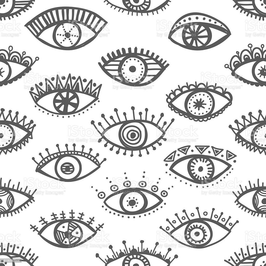 Hand drawn indian ethnic tribal eyes fashion trendy seamless pat vector art illustration