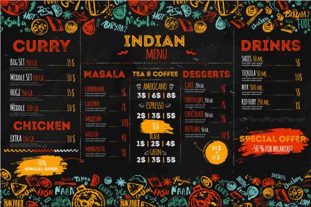 ilustraciones, imágenes clip art, dibujos animados e iconos de stock de diseño de menú de comida india dibujado a mano con bocetos y letras. puede ser utilizado para banners, promo - comida india