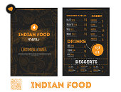 Hand drawn Indian food menu design with rough sketches and lettering. Can be used for banners, promo.
