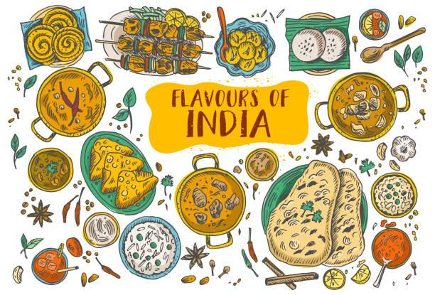 ilustraciones, imágenes clip art, dibujos animados e iconos de stock de comida de la india hechos a mano, ilustración vectorial - comida india