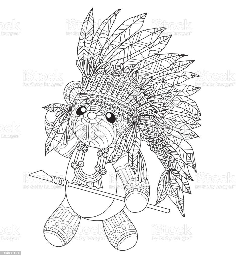 Handen ritade indiska nallebjörn för vuxen målarbok. vektorkonstillustration