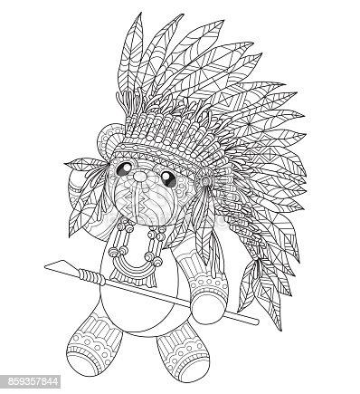 Ilustración de Mano Dibujada Osito Indio Para Adulto Para Colorear ...