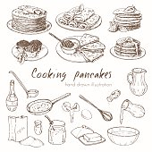 Illustration depicting the process of cooking pancakes and various types of pancakes. infographic about the recipe for pancakes. Vector hand drawn set.Vector hand drawn set. Illustration depicting the process of cooking pancakes. infographics about the recipe for pancakes