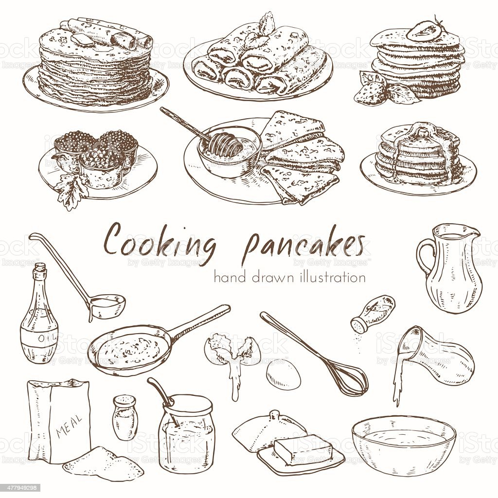 hand drawn infographics about the recipe for pancakes vector art illustration