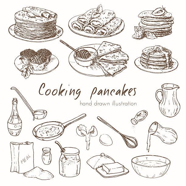 手描きのインフォグラフィックのレシピをパンケーキ - パンケーキ点のイラスト素材/クリップアート素材/マンガ素材/アイコン素材