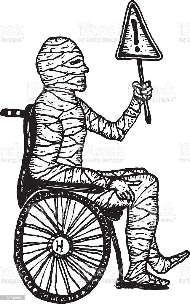 Uomo In Mummia Una Lesione Sedia Disegnata Immagini Rotelle Mano A vn8OmwN0
