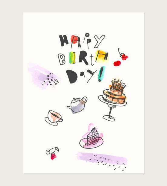 Hand drawn ink and watercolor card wirh  lettering and sweet dessert drawings. cake, teapot and teacup, cherries with abstract textures. Hand drawn ink and watercolor card wirh  lettering and sweet dessert drawings. cake, teapot and teacup, cherries with abstract textures. For party background or birthday invitation design. cartoon of birthday cake outline stock illustrations