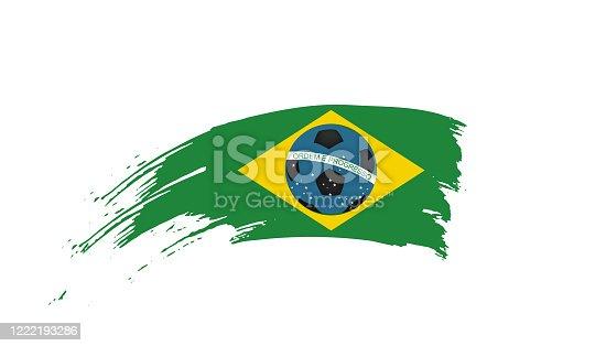 istock Hand drawn ink brush stroke green, yellow, blue national color Flag of Brazil. Brazilian football symbol on white background. Soccer ball design poster, banner, flyer. Concept vector illustration 1222193286