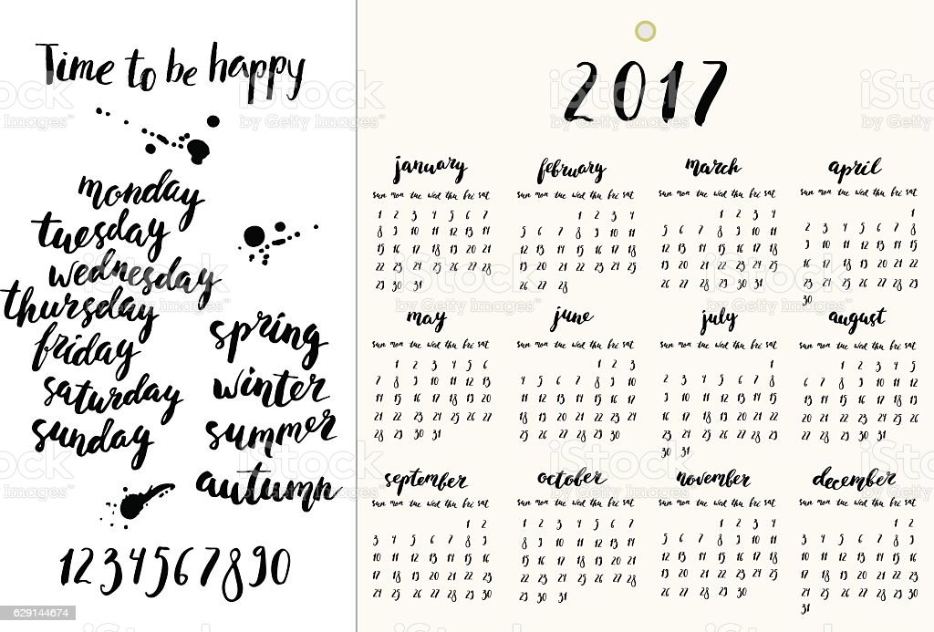 hand drawn ink calendar set with year 2017 design template