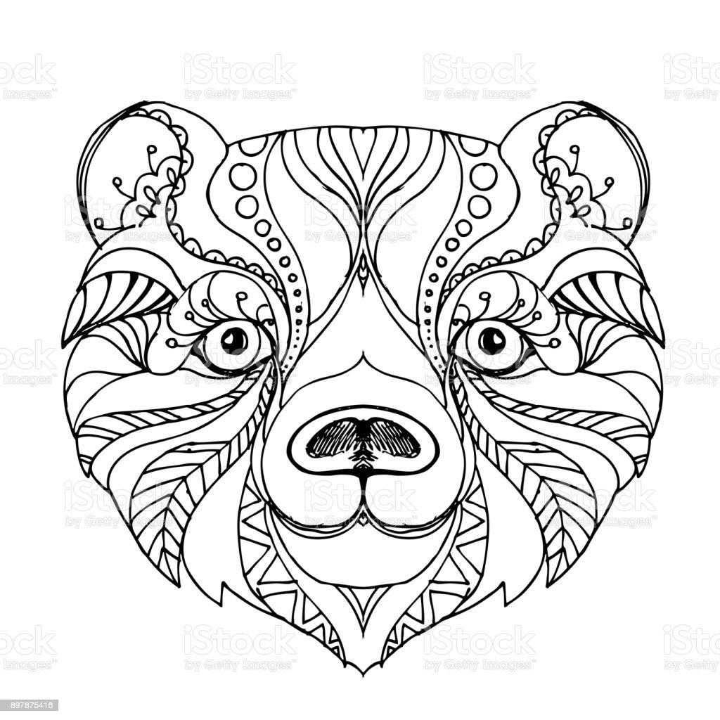 Handgezeichnete Tinte Doodle Bea Auf Weiß Malvorlagen Design Für ...