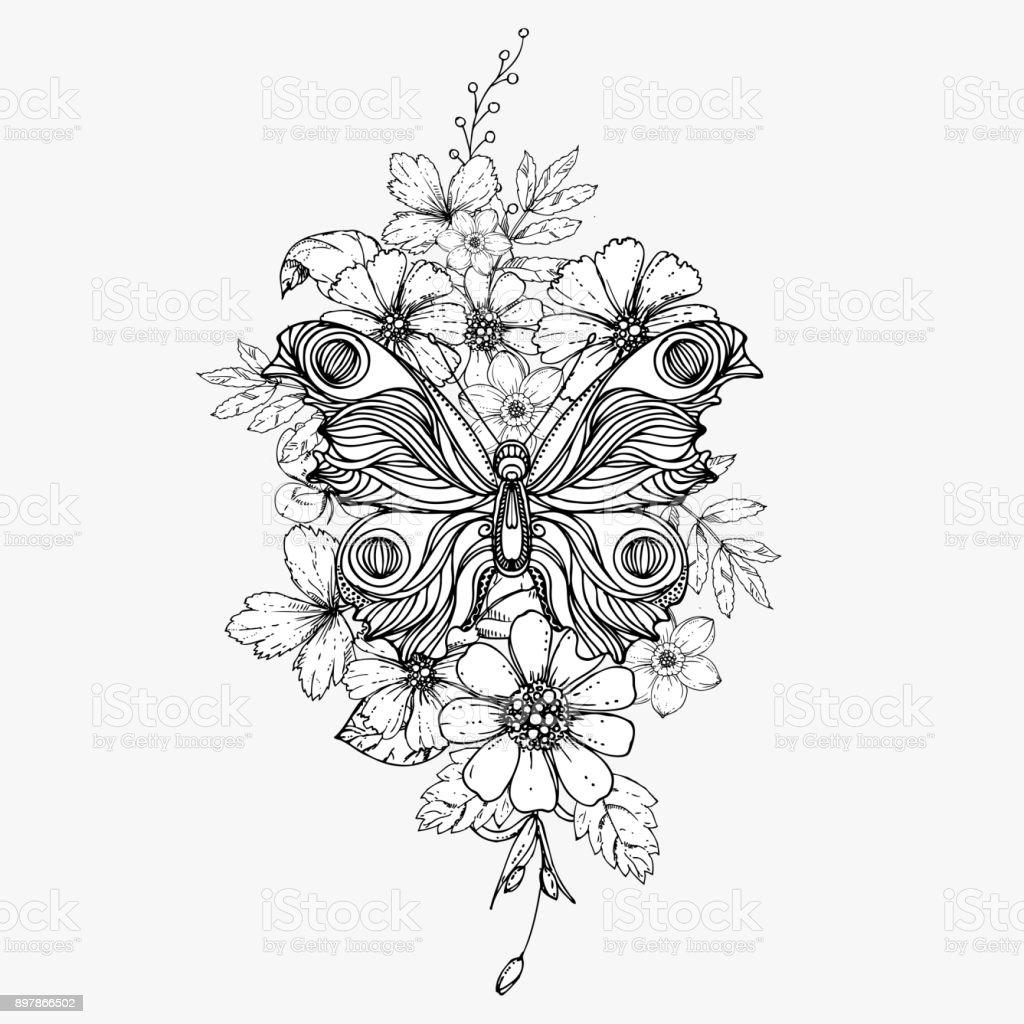 Inkt Hand Getrokken Doodle Vlinder En Bloemen Op Grijze Achtergrond