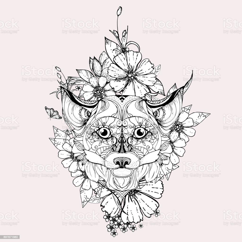 Handgezeichnete Tinte Doodle Fuchs Und Blumen Auf Grauem Hintergrund ...