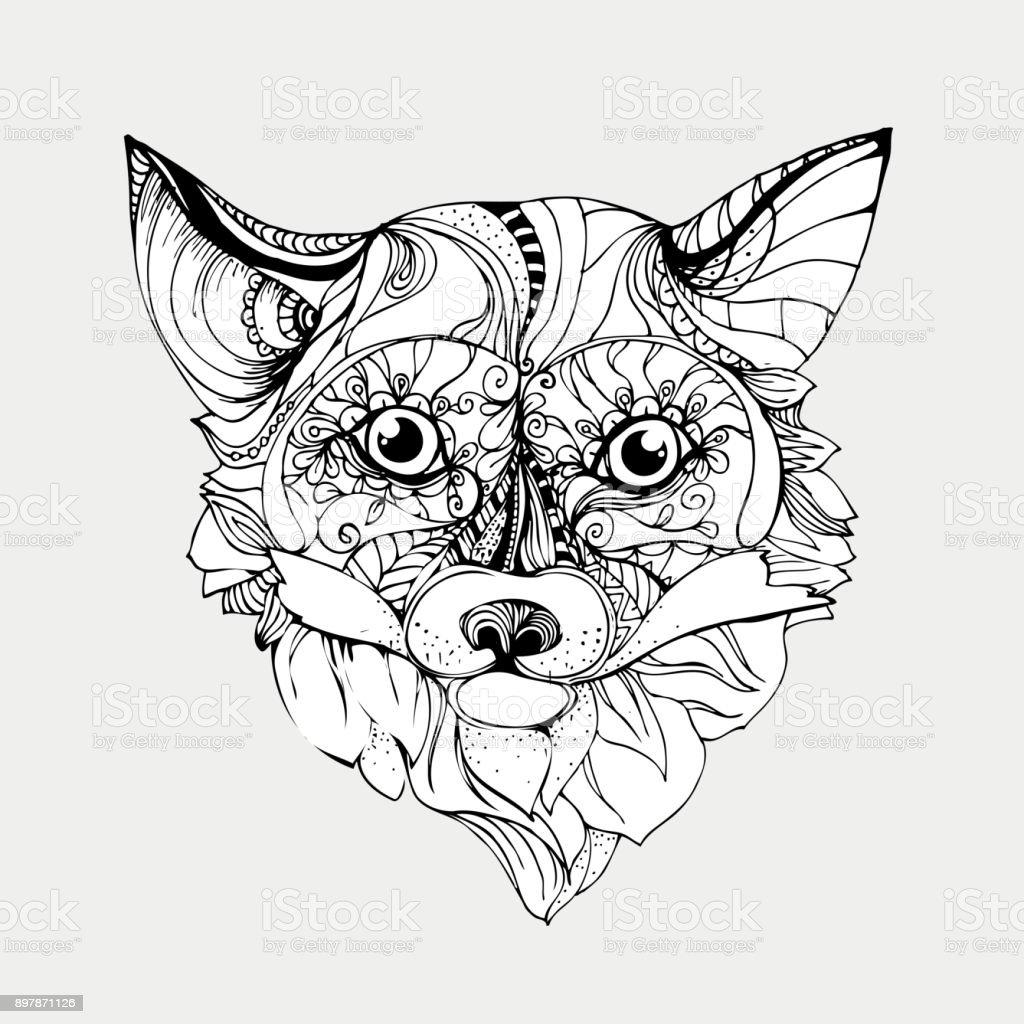 Tinta De Dibujado A Mano Doodle Fox Sobre Fondo Blanco Página Para ...