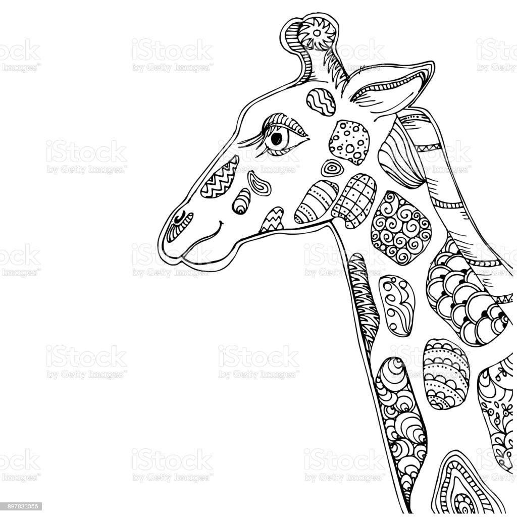Elle çizilmiş Mürekkep Doodle Zürafa Beyaz Arka Plan üzerinde