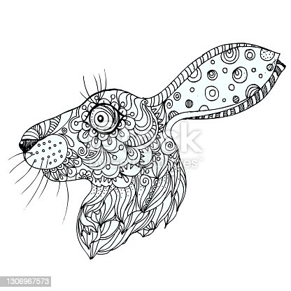hand drawn ink doodle rabbit on white background. Vector. Elements in graphic style label, card, sticker, menu, package.