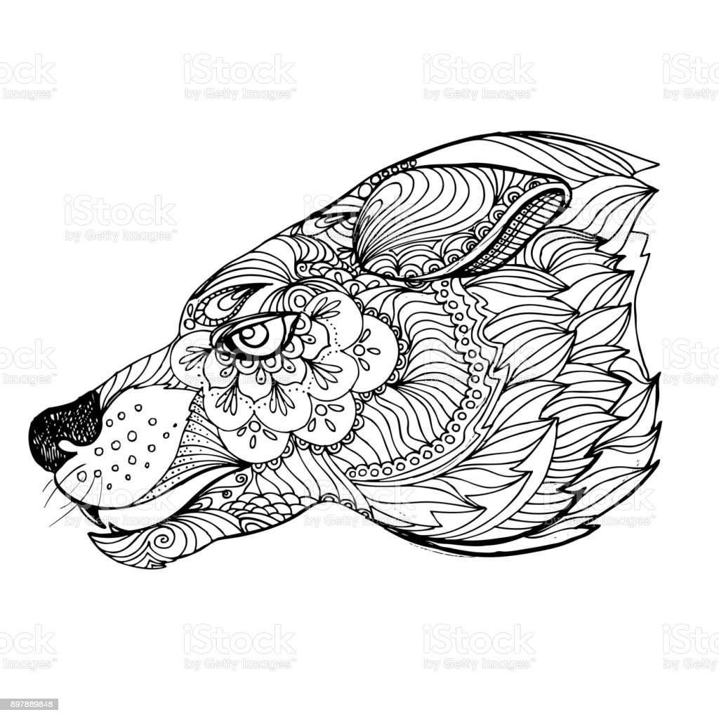 Coloriage Adulte Loup.Encre Dessines A La Main Doodle Loup Sur Fond Blanc Coloriage