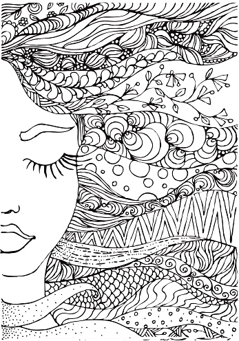 hand drawn ink doodle womans face and flowing hair on white background. Coloring page - zendala, design forr adults, poster, print, t-shirt, invitation, banners, flyers